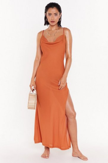 Womens Rust Cowl neck Chiffon Maxi Beach Dress