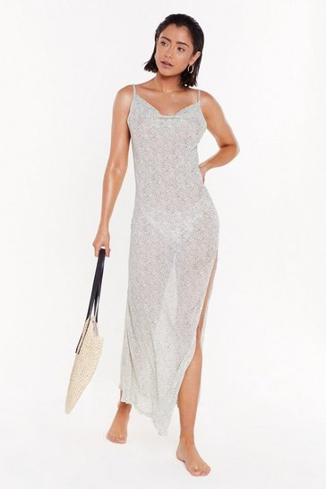 Sage Be a Beach About It Cover-Up Cowl Dress
