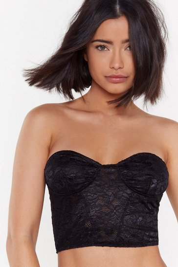 Womens Black I Wanna Lace You Bandeau Bralette