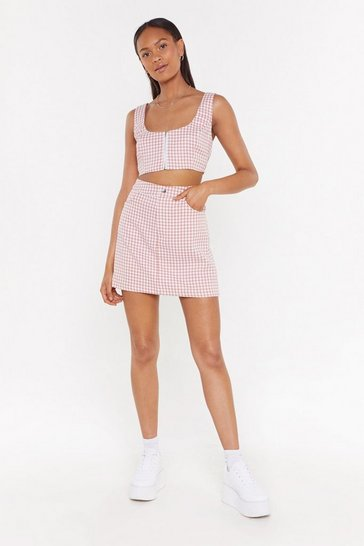 Pink Houndstooth Be Told Mini Skirt