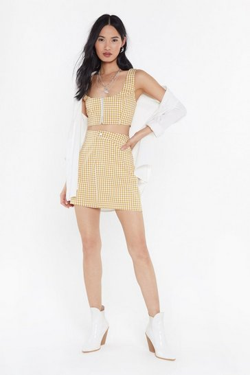 Womens Yellow Houndstooth Be Told Mini Skirt