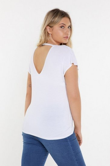 Womens White Leave It With V Open Back Tee