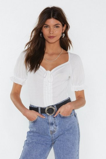 White What's the Ruche Ribbed Puff Bodysuit