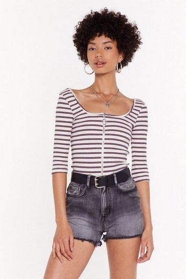 Womens Cream I Gotta Zip Off Striped Top