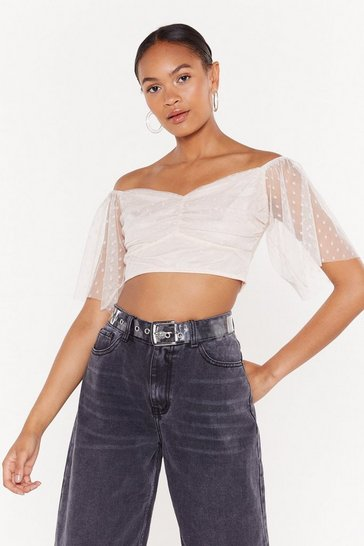 Dot Off the Press Sweetheart Crop Top, Blue, FEMMES