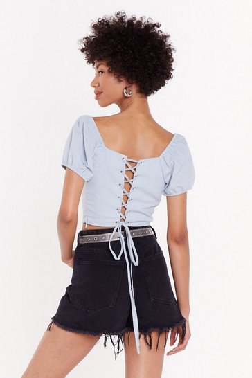 Womens Blue Lace-Up the Stakes Linen Cropped Blouse