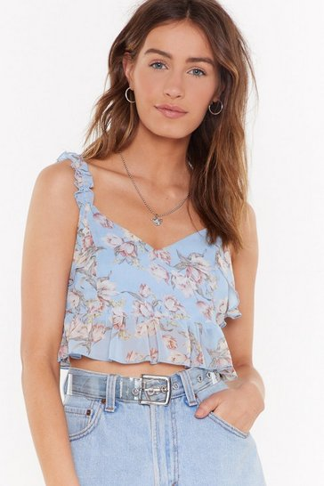 Womens Blue Floral I Care Ruffle Crop Top