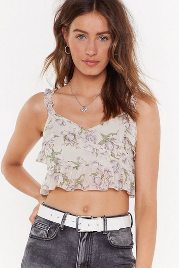 Womens White Floral I Care Ruffle Crop Top