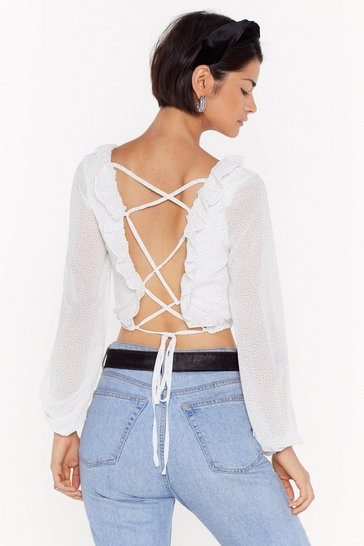 Crop top en mesh à imprimé points Point de vue, White, FEMMES
