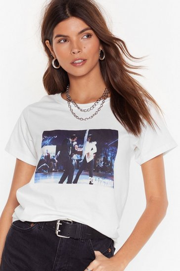 Womens White Dance the Twist Pulp Ficition Graphic Tee