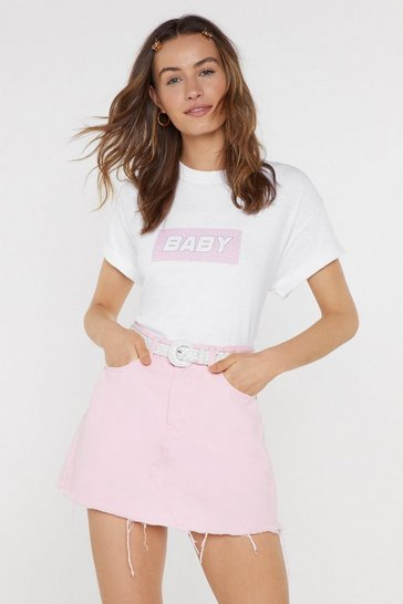 Womens White Call Me Baby Graphic Tee