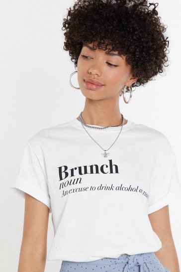 Womens White The Definition of Brunch Graphic Tee