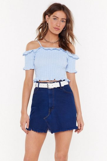 Light blue Embroidered Shirred Crop Top
