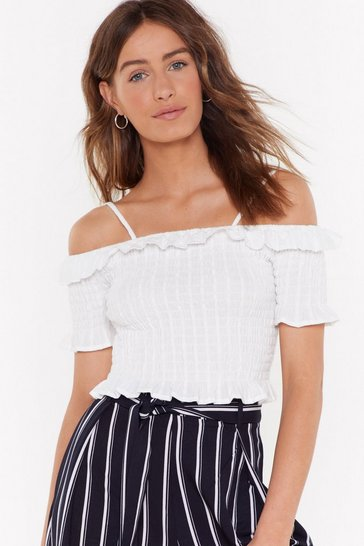 Womens White Embroidered Shirred Crop Top