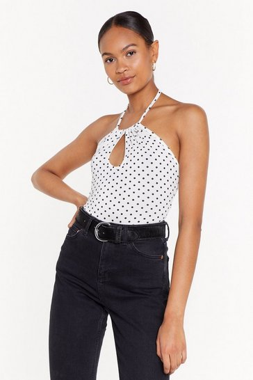 Womens White Spotty Key Hole Halterneck Bodysuit