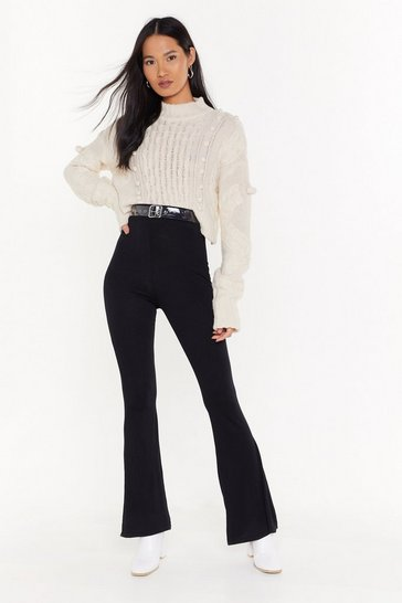 Womens Black We Flare You High-Waisted Pants