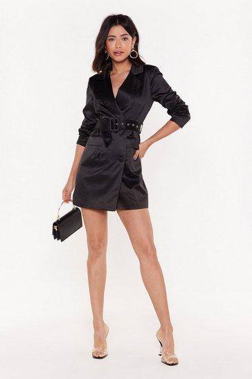 Black Let's Get Down to Business Belted Blazer Dress