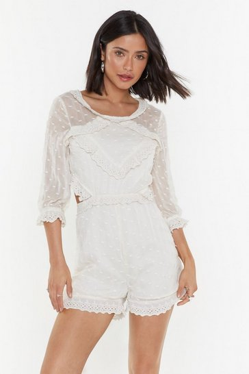 Womens Cream I Knew You Were Ruffle Broderie Romper