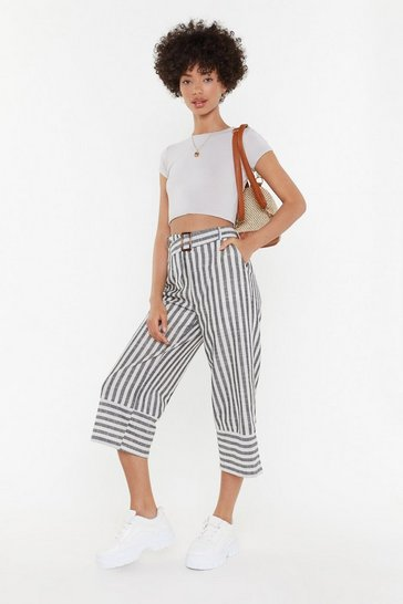 Womens Grey Stripe Me Down Linen Belted Culottes