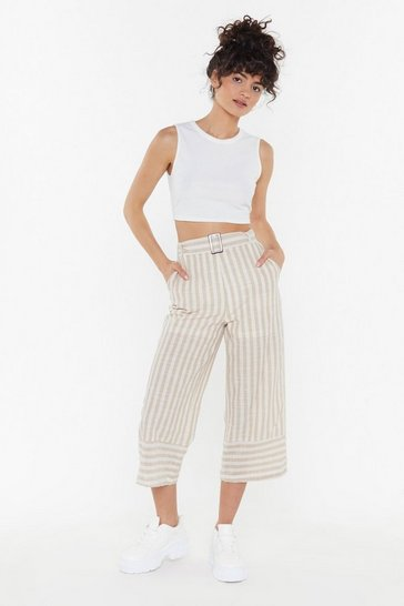 Womens Stone Like You Culotte Stripe Belted Culottes