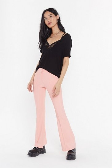 Womens Pink Flare Me Down Tailored Trousers