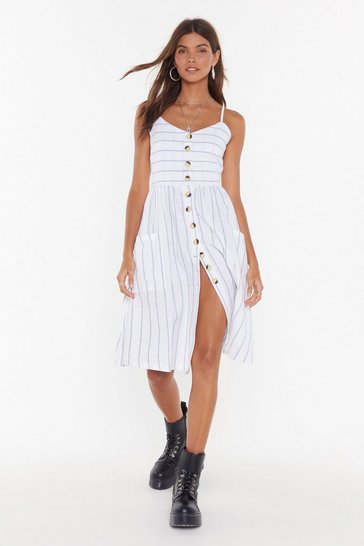 Womens White Line 'Em Up Striped Button-Down Midi Dress