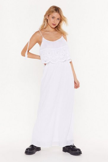 Womens White Leave 'Em in Tiers Crochet Maxi Dress