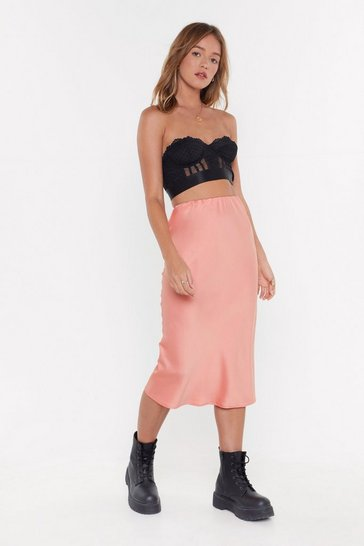 Womens Brick Slip of the Tongue Satin Midi Skirt