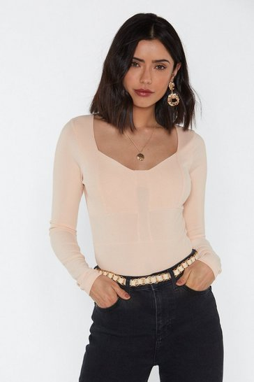 Womens Nude Ribbed Seam Detail Body