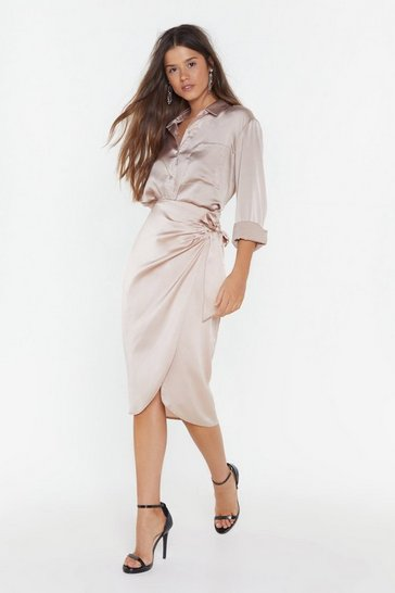 Womens Champagne Give It Tie Satin Wrap Skirt