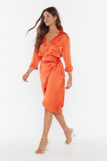 Orange Give It Tie Satin Wrap Skirt