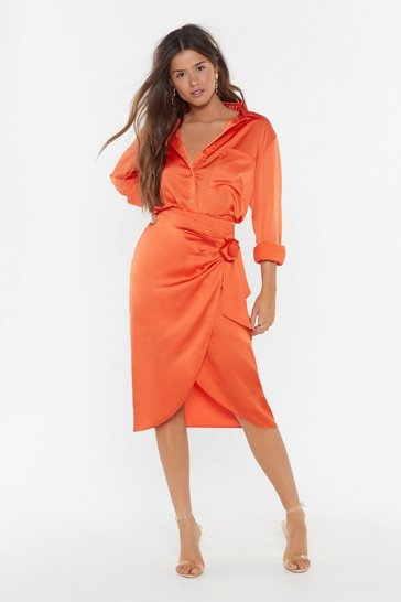 Womens Orange Satin Oversized Co-ord Shirt