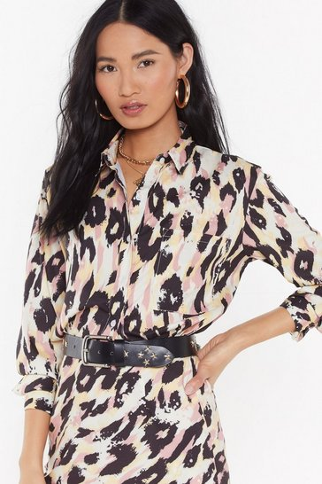 Womens Cream Satin Tie Dye Co-ord Shirt