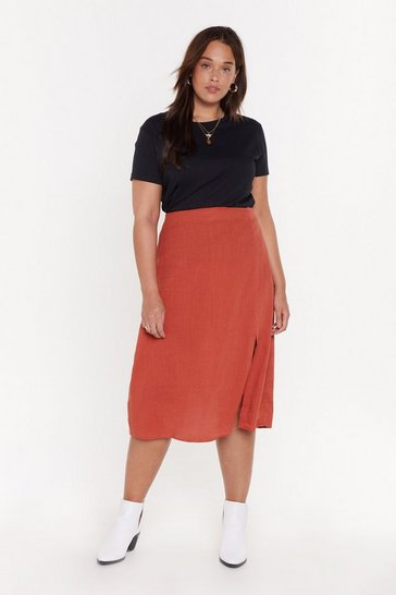 Womens Rust Linen Bias Cut Midi Co-ord Skirt