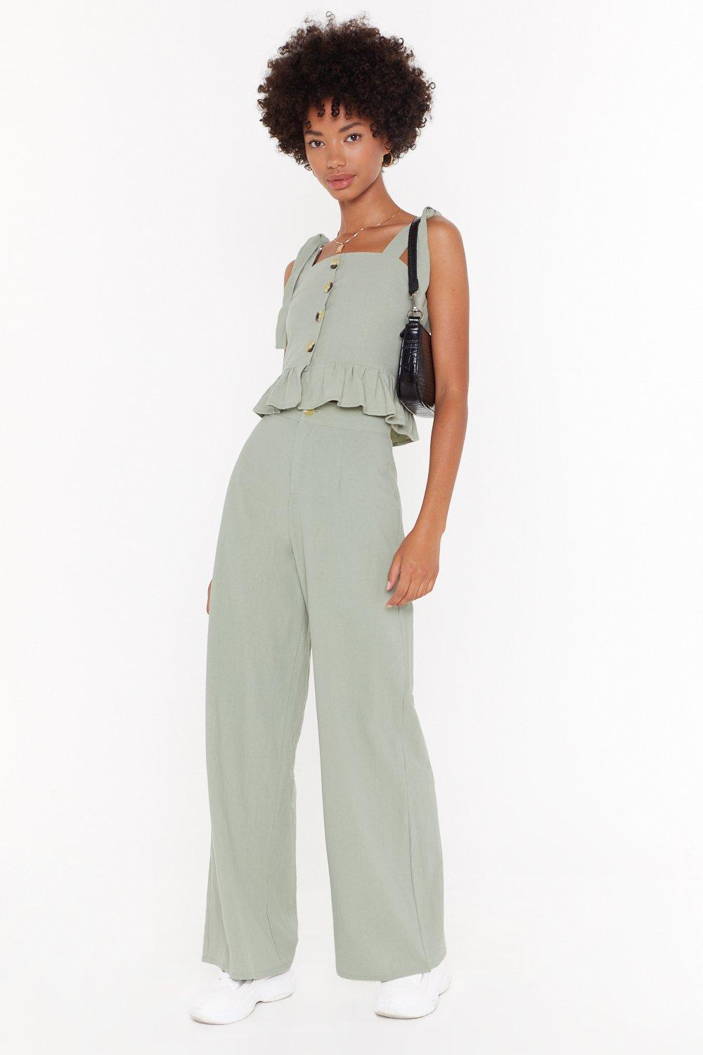Wide Wide World Linen High Waisted Pants by Nasty Gal