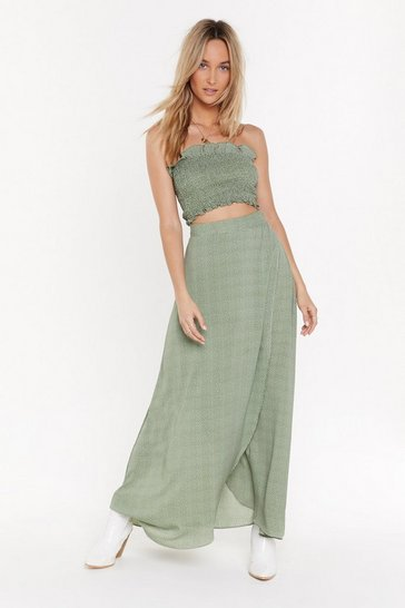 Womens Sage To Dot It Off Wrap Maxi Skirt