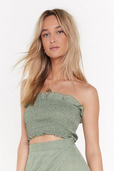 Womens Sage To Dot It Off Shirred Bandeau Top