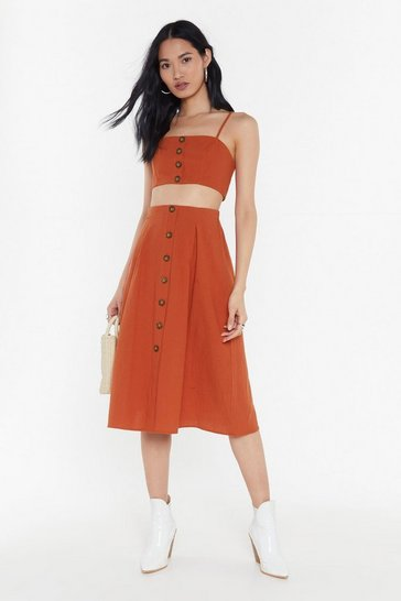Womens Rust Midi Skirt + Crop Co-ord