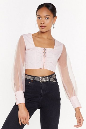 Peach Hook Off Organza Sleeve Crop Top