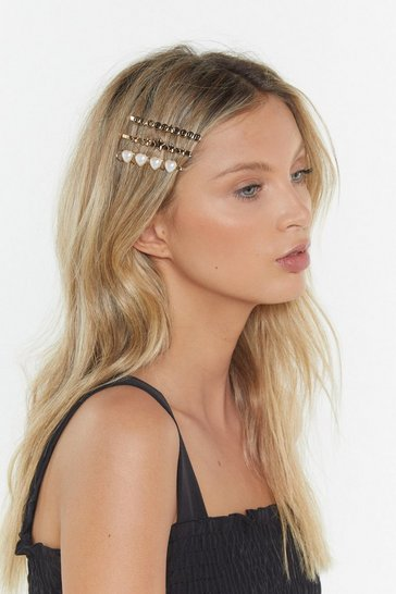 Womens Gold Bitch Club Pearl 3-Pc Hair Slides