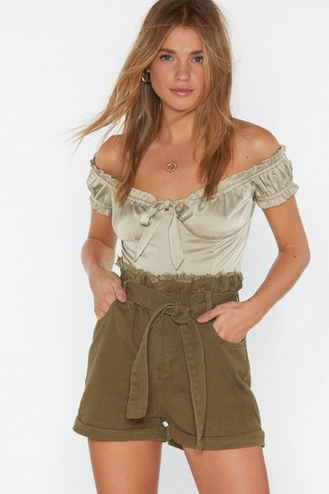 Womens Khaki Denim Belted Shorts
