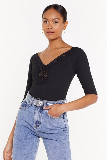 Black Know Your Lace Girl Ribbed Trim Top