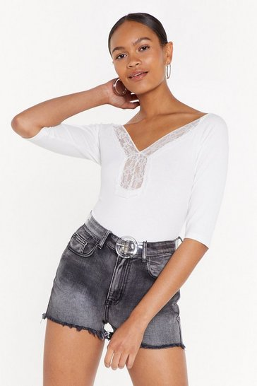 Womens White Know Your Lace Girl Ribbed Trim Top