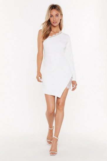 Womens White Put Em' In Their P-Lace One Shoulder Dress
