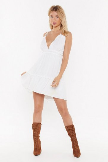 Womens White Halter What You're Doing Mini Dress