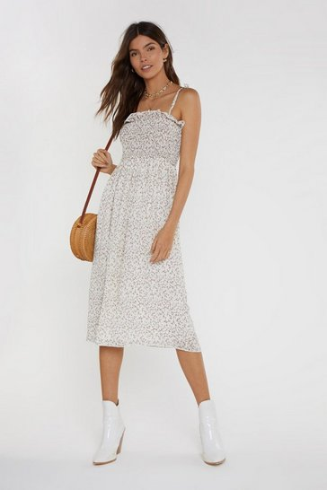 Womens Cream If You Leaf Me Now Floral Midi Dress