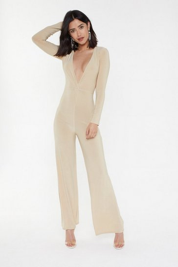 Womens Stone Deep On Loving You Plunging Wide-Leg Jumpsuit
