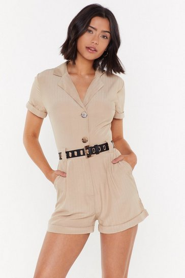 Womens Stone Nobody's Business Tailored Button-Down Romper