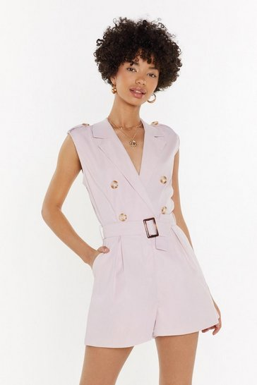 Womens Pink Tailored Sleeveless Playsuit