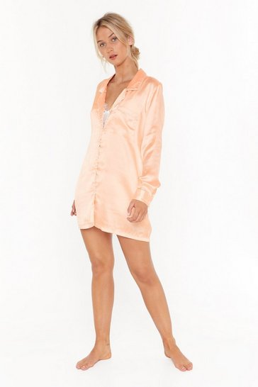 Womens Coral Let's Sleek In Satin Pajama Shirt